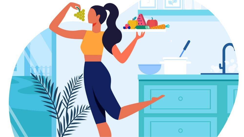 Woman eating healthy at home