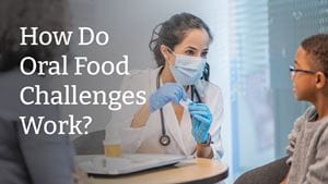 Image of a doctor and a child talking about oral food challenges