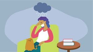 Woman depressed at home during COVID-19