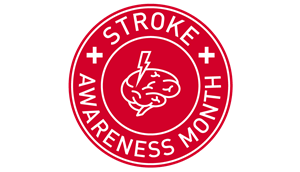 Red image of stroke awareness month