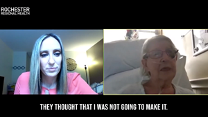 COVID-19 patient talks to reporter