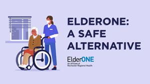 Senior at ElderONE program during COVID
